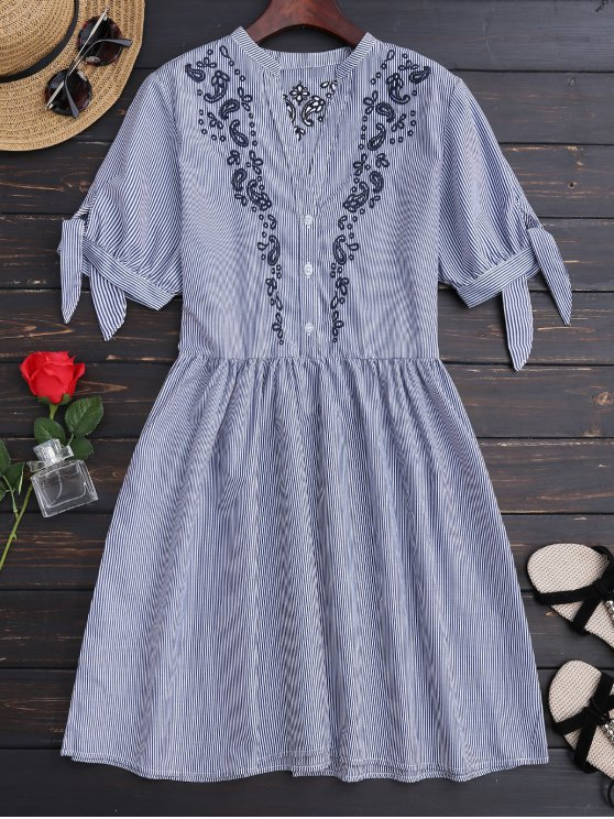 latest Stripes Embroidered Casual Dress - STRIPE M