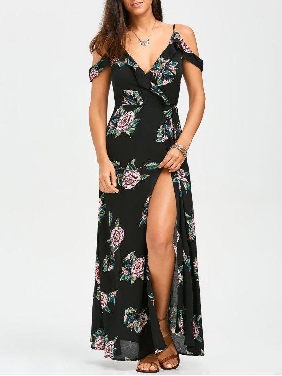 best Floral Cold Shoulder Wrap Dress - FLORAL L