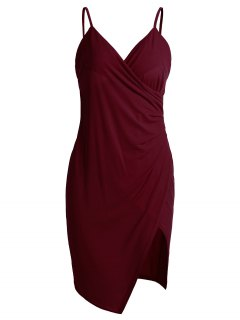 Spaghetti Strap Ruched Asymmetric Bodycon Dress - Wine Red M