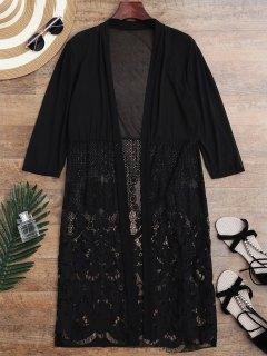 Mesh Panel Lace Kimono Cover Up - Black