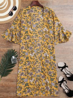 Bell Sleeve Tiny Floral Slit Kimono Cover Up - Yellow