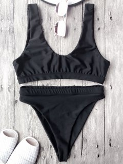 High Cut Scoop Front Bikini Set - Black M