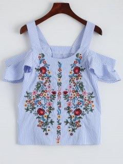 Striped Embroidered Cold Shoulder Top - Stripe S