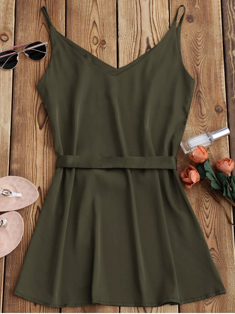 fashion Satin Cami Slip Dress With Choker Strap - ARMY GREEN S Mobile