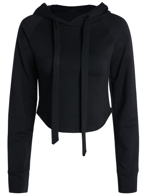 affordable Cropped Hooded Long Sleeve Pullover Hoodie - BLACK M Mobile