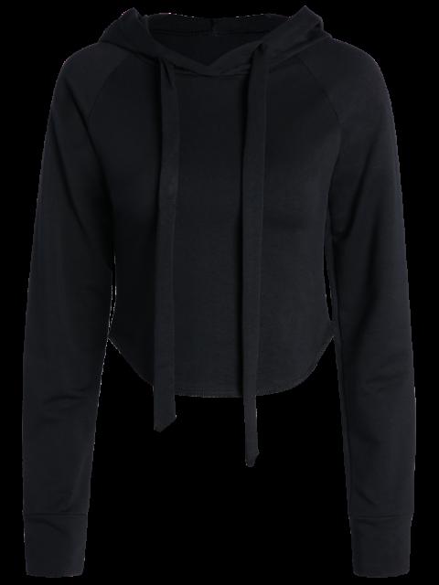 buy Cropped Hooded Long Sleeve Pullover Hoodie - BLACK S Mobile