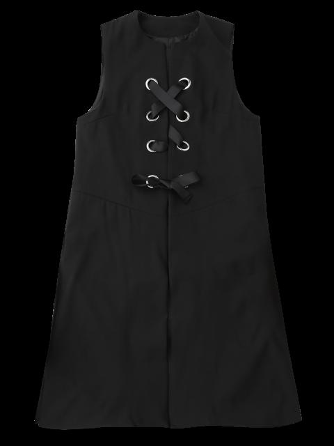 online Back Slit Lace Up Longline Waistcoat - BLACK S Mobile