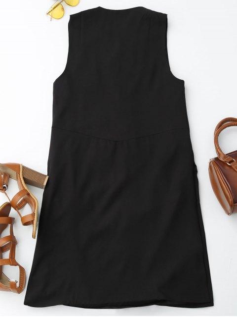 hot Back Slit Lace Up Longline Waistcoat - BLACK L Mobile