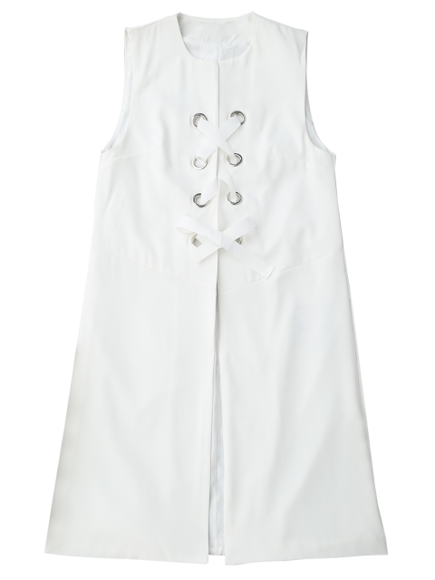 outfit Back Slit Lace Up Longline Waistcoat - WHITE L Mobile