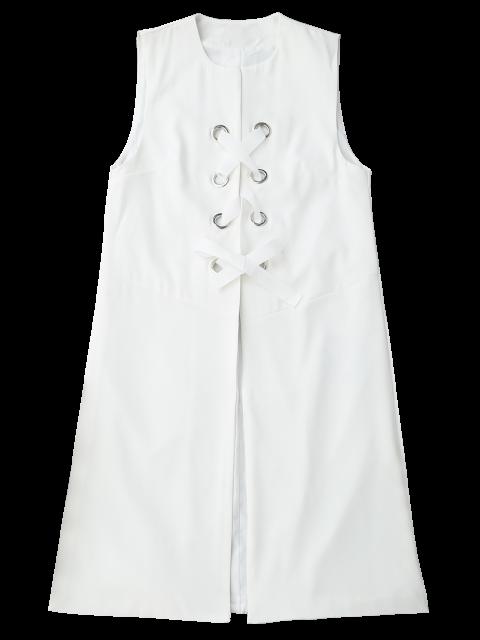 shop Back Slit Lace Up Longline Waistcoat - WHITE S Mobile