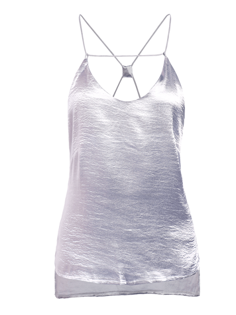 affordable Solid Color High Low Cami Top - SILVER L Mobile