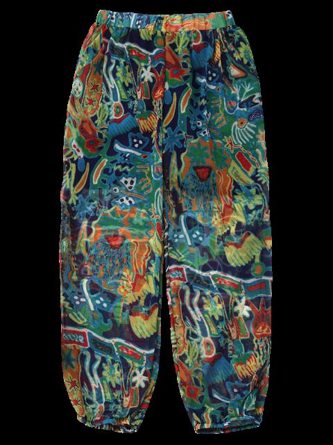 trendy Printed Puff Beach Capri Pants - BLUE M Mobile