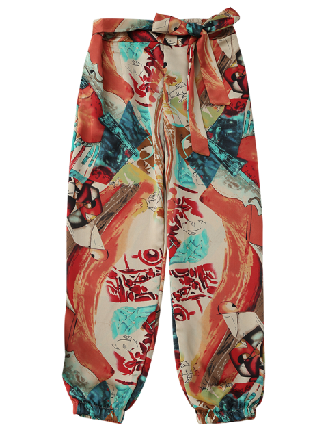 fashion Tie Front Abstract Print Beach Pants - COLORMIX M Mobile