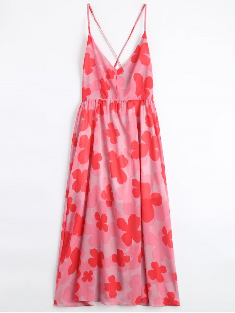 unique Four-Leaf Clovers Print Backless Beach Dress - PINK S Mobile