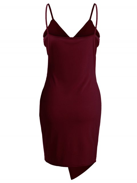 fancy Spaghetti Strap Ruched Asymmetric Bodycon Dress - WINE RED S Mobile