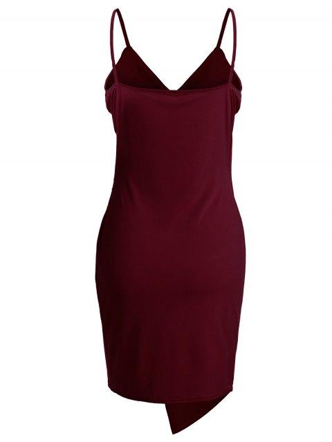 unique Spaghetti Strap Ruched Asymmetric Bodycon Dress - WINE RED M Mobile