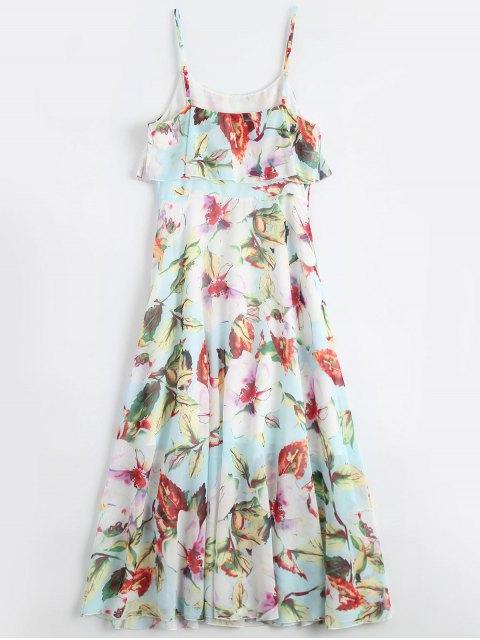 buy Floral Ruffle Spaghetti Strap Bohemian Dress - FLORAL L Mobile