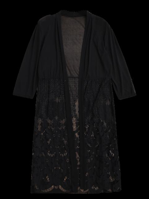 women Mesh Panel Lace Kimono Cover Up - BLACK ONE SIZE Mobile
