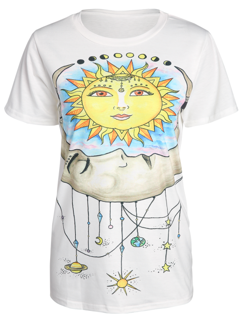 hot Sun Print Round Neck Short Sleeve T-Shirt - WHITE 2XL Mobile