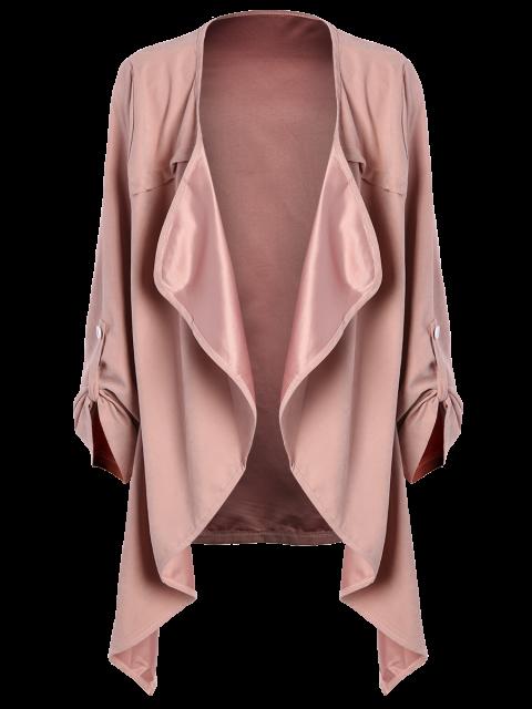 fashion Drape Front Coat - PINK 3XL Mobile