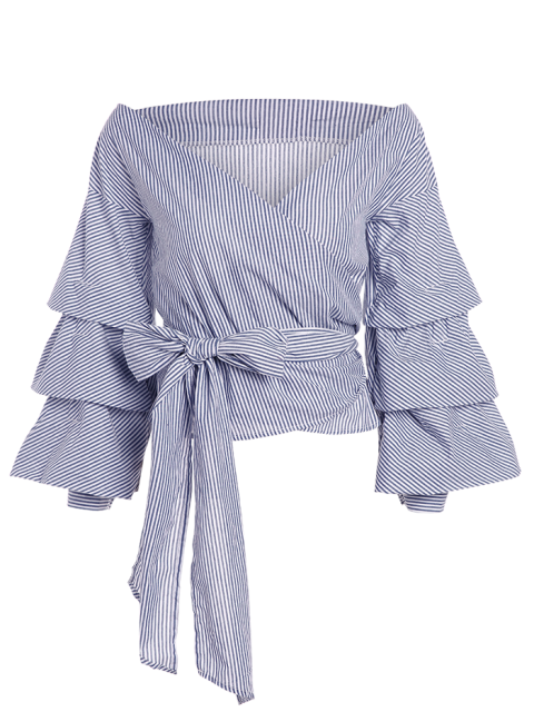 latest Layered Sleeve Striped Wrap Blouse - BLUE AND WHITE M Mobile