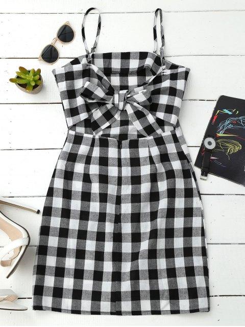 lady Slip Tie Back Plaid Dress - BLACK WHITE S Mobile