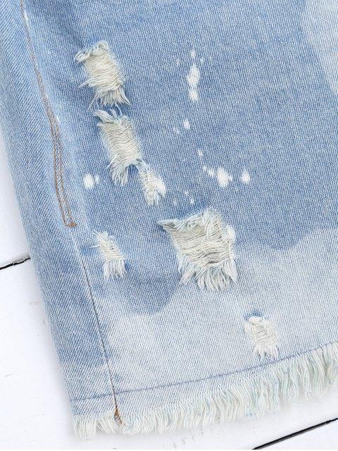 trendy Cutoffs Ripped Denim Skirt - DENIM BLUE S Mobile