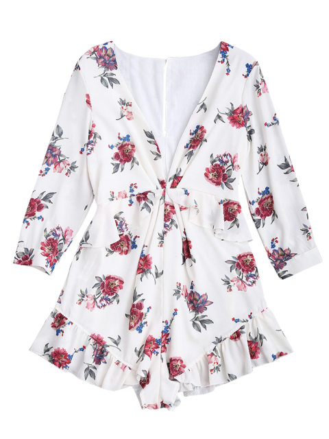 lady Plunge Ruffles Floral Romper - FLORAL L Mobile