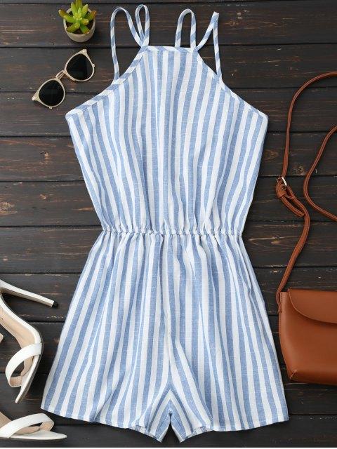 fancy Backless Striped Romper - BLUE S Mobile
