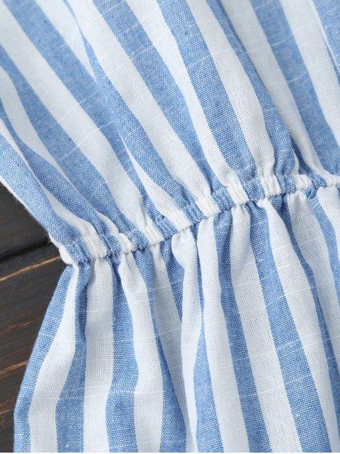 unique Backless Striped Romper - BLUE M Mobile