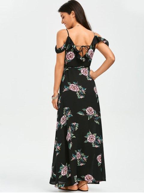 new Floral Cold Shoulder Wrap Dress - FLORAL S Mobile