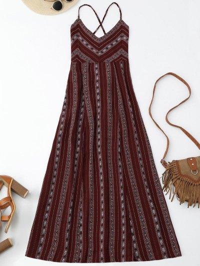 Slit Stripe Lace Up Backless Maxi Dress - Wine Red