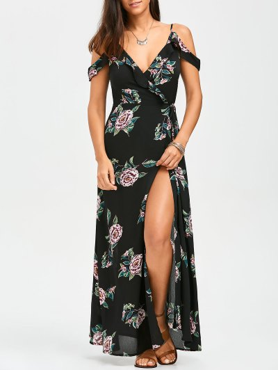 Floral Cold Shoulder Wrap Dress - Floral