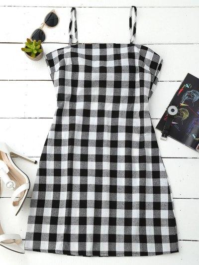 Slip Tie Back Plaid Dress - Black White