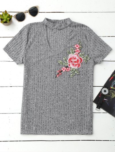 Ribbed Choker Embroidered Flower Top