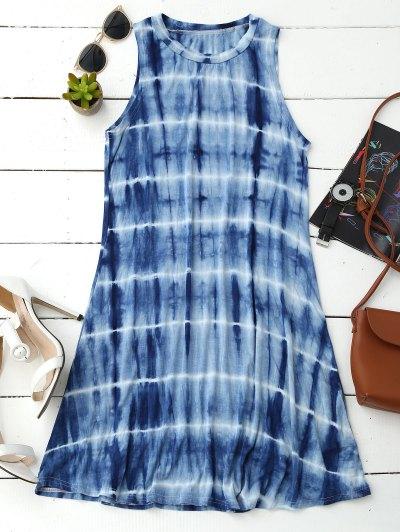 Tie Dye Cotton Blend Tank Dress - Blue