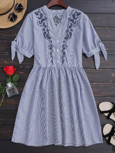 Stripes Embroidered Casual Dress - Stripe