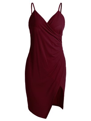 Spaghetti Strap Ruched Asymmetric Bodycon Dress
