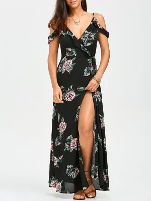 Floral Cold Shoulder Wrap Dress - Floral M