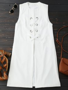 Back Slit Lace Up Longline Waistcoat - White