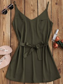 Satin Cami Slip Dress With Choker Strap - Army Green