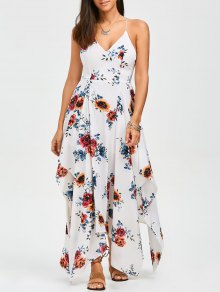Criss Cross Floral Asymmetrical Dress