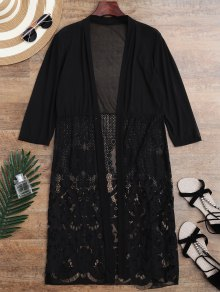 Mesh Panel Lace Kimono Cover Up - Black