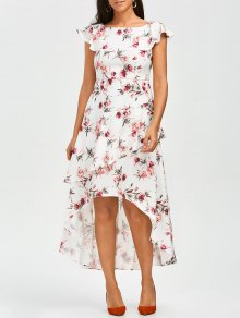 Floral Asymmetrical A-Line Dress - Floral M