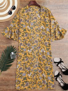 Bell Sleeve Tiny Floral Slit Kimono Cover Up