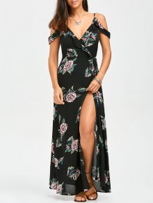 Floral Cold Shoulder Wrap Dress - Floral