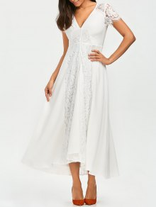 Front Zippered Lace Panel Maxi Dress - White L