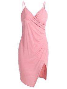 Spaghetti Strap Ruched Asymmetric Bodycon Dress - Pink S
