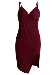 Spaghetti Strap Ruched Asymmetric Bodycon Dress - Wine Red