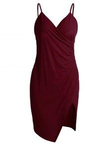 Spaghetti Strap Ruched Asymmetric Bodycon Dress